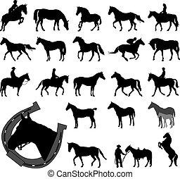 pferden, silhouetten, sammlung