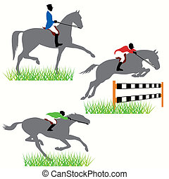 pferden, silhouetten, satz