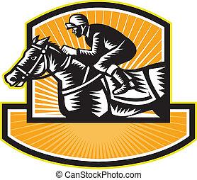 pferderennsport, seite, holzschnitt, retro