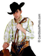pferdesattel, zügel, cowboy