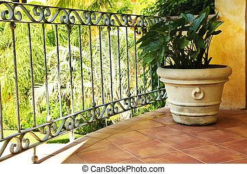pflanze, auf, gekachelt, mexikanisch, veranda