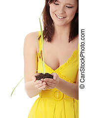 pflanze, frau, gartenerde, junger, besitz, klein