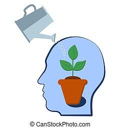 pflanze, geistig, aspiration, potential, selfdevelopment, kopf, innenseite., gesundheit, motivation