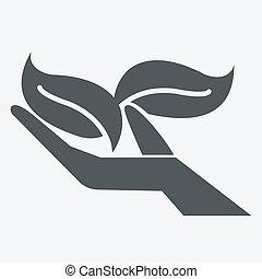 pflanze, hände, ikone