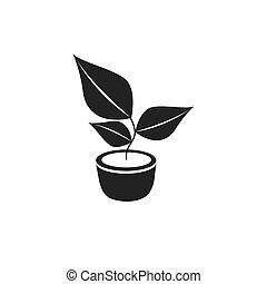 pflanze, ikone, vektor