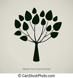 pflanze, illustration., natur, abstrakt, baum, vektor, design, symbol