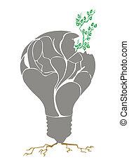 pflanze, in, licht, bulb., vektor