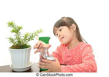 pflanze, lächelnden mädchen, eingetopft hat