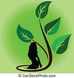 pflanze, mit, m�dchen, karikatur, vektor, abbildung