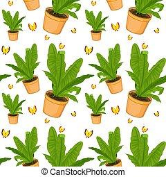 pflanze, muster, seamless, farn, fliese, karikatur