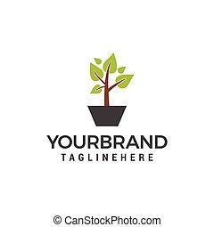 pflanze, vektor, grün, schablone, logo, design, ikone