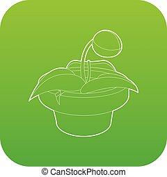 pflanze, vektor, grün, topf, ikone