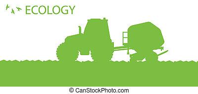 pflanzen, begriff, organische , ernten, plakat, feld, vektor, ökologie, hintergrund, seeder, landwirtschaft, traktor