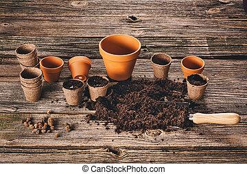 pflanzen, pflanze, natürlich, kleingarten, hölzern, hintergrund, eingetopft hat