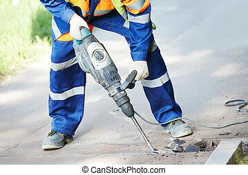 pflasterarbeiten, arbeiter, mit, perforator