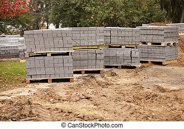 pflastern, platten, -, der, gepackt, pflastern, platten, gebracht, für, liegende
