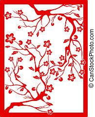 pflaume, schnitt, rotes , blossom-paper