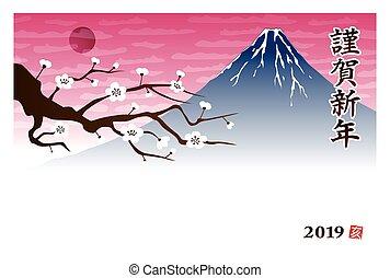 pflaumenbaum, fuji, berg, jahr, neu , blumen, karte