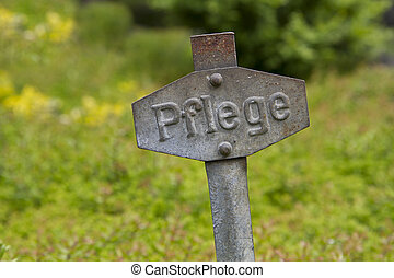 """Pflege"" Hinweissschild / old rusty metal sign""care"" - Old..."