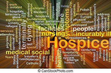 pflegeheim, glühen, begriff, hintergrund