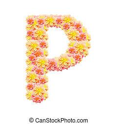 P,flower alphabet isolated on white