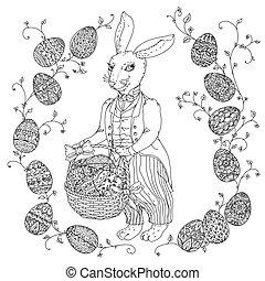 pfor, livre, lapin, paques, coloration