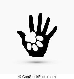 pfote, modern, hand, vektor, schwarz, weißes, halten, ikone