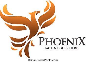 phénix, oiseau, logo, concept