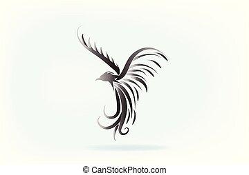 phénix, vecteur, animal, typon, logo, oiseau