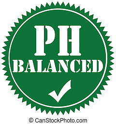 Green label with text PH Balanced, vector illustration