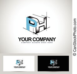 Ph Letters Logo Design. Creative PH Letters Icon with...