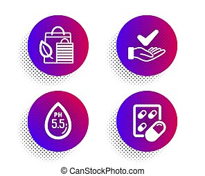 Ph neutral, Dermatologically tested and Bio shopping icons set. Capsule pill sign. Water, Organic, Leaf. Vector