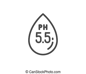Ph neutral line icon. Clinically tested sign. Water drop....