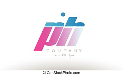 ph p h alphabet letter combination pink blue bold logo icon...