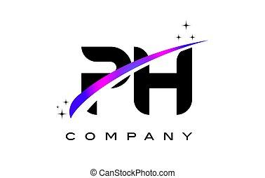 PH P H Black Letter Logo Design with Purple Magenta Swoosh...