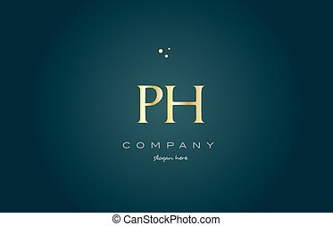 ph p h gold golden luxury alphabet letter logo icon template...