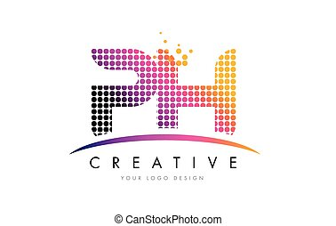 PH P H Letter Logo Design with Magenta Dots and Swoosh - PH...