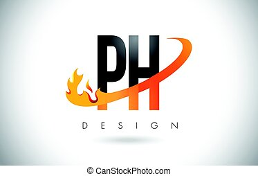 PH P H Letter Logo with Fire Flames Design and Orange...