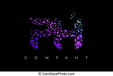 PH P H Letter Logo with Purple Particles and Bubble Dots -...