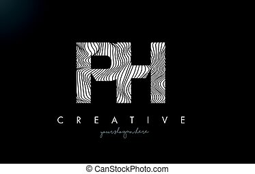 PH P H Letter Logo with Zebra Lines Texture Design Vector. -...