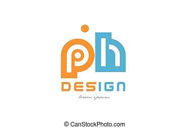 ph p h orange blue alphabet letter logo combination -...