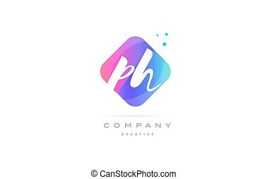 ph p h pink blue rhombus abstract hand written company...