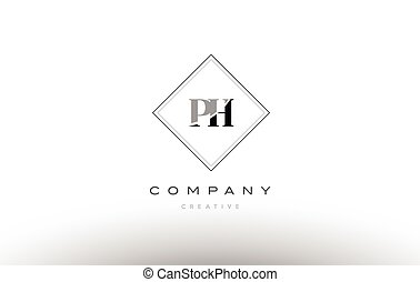 ph p h retro vintage black white alphabet letter logo - ph p...