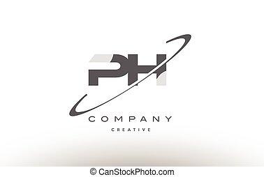 ph p h swoosh grey alphabet letter logo - ph p h grey swoosh...