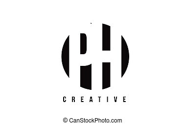 PH P H White Letter Logo Design with Circle Background. - PH...