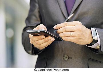 phablet, 事務, 鋼筆, smartphone, 鍵入, 人