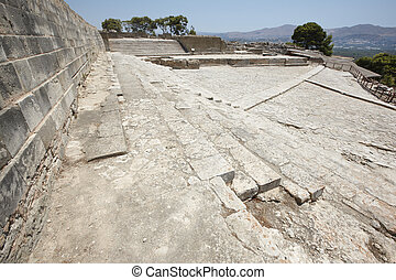 phaestos, minoan, palastartig, stadt, ruinen, in, crete.,...