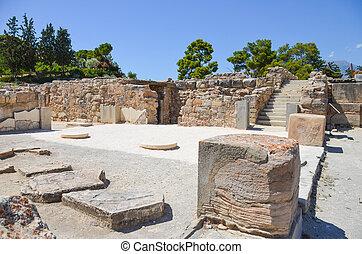 phaistos, palast, landschaftlich, (greece), minoan, kreta
