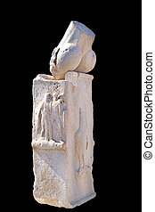 phallus at chapel of dionysos delos island greece, isolated in b