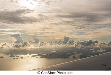 Phang Nga archipelago before sunset, picture taken from high...